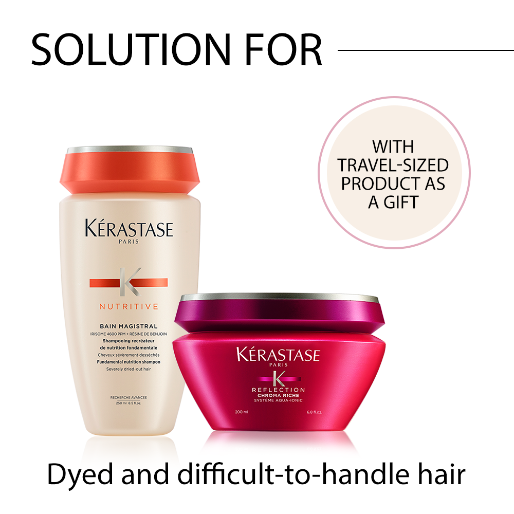 Kérastase problem-solving hair care package for dyed and difficult-to-handle hair with FREE travel-sized product