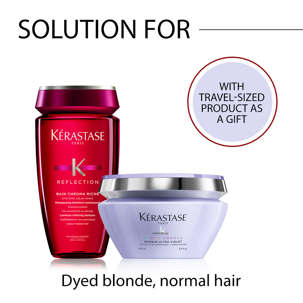 Kérastase problem-solving hair care package for dyed blonde hair with FREE travel-sized product