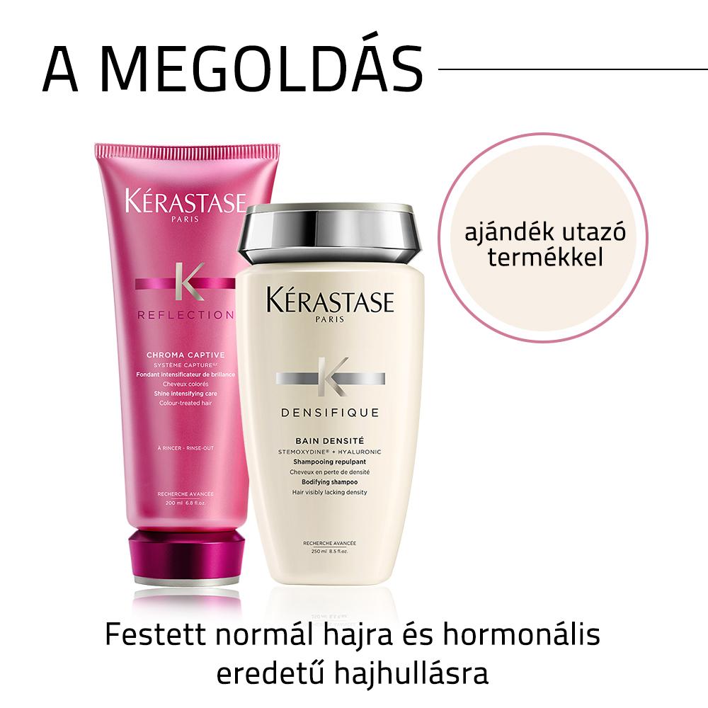Kérastase problémamegoldó hajápoló csomag festett hajra, hormonális eredetű hajhullás esetén AJÁNDÉK utazó kiszerelésű termékkel
