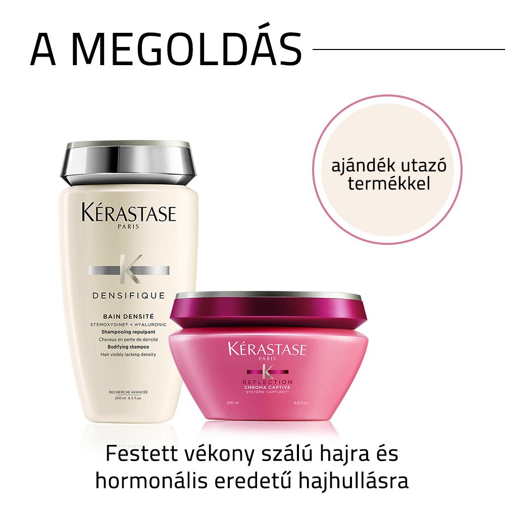 Kérastase problémamegoldó hajápoló csomag festett vékony szálú haj és hormonális eredetű hajhullás esetére AJÁNDÉK utazó kiszerelésű termékkel