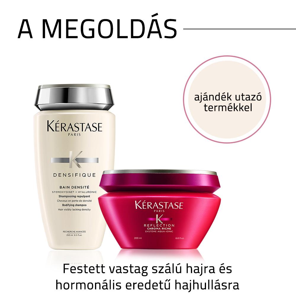 Kérastase problémamegoldó hajápoló csomag festett vastag szálú haj és hormonális eredetű hajhullás esetén AJÁNDÉK utazó kiszerelésű termékkel
