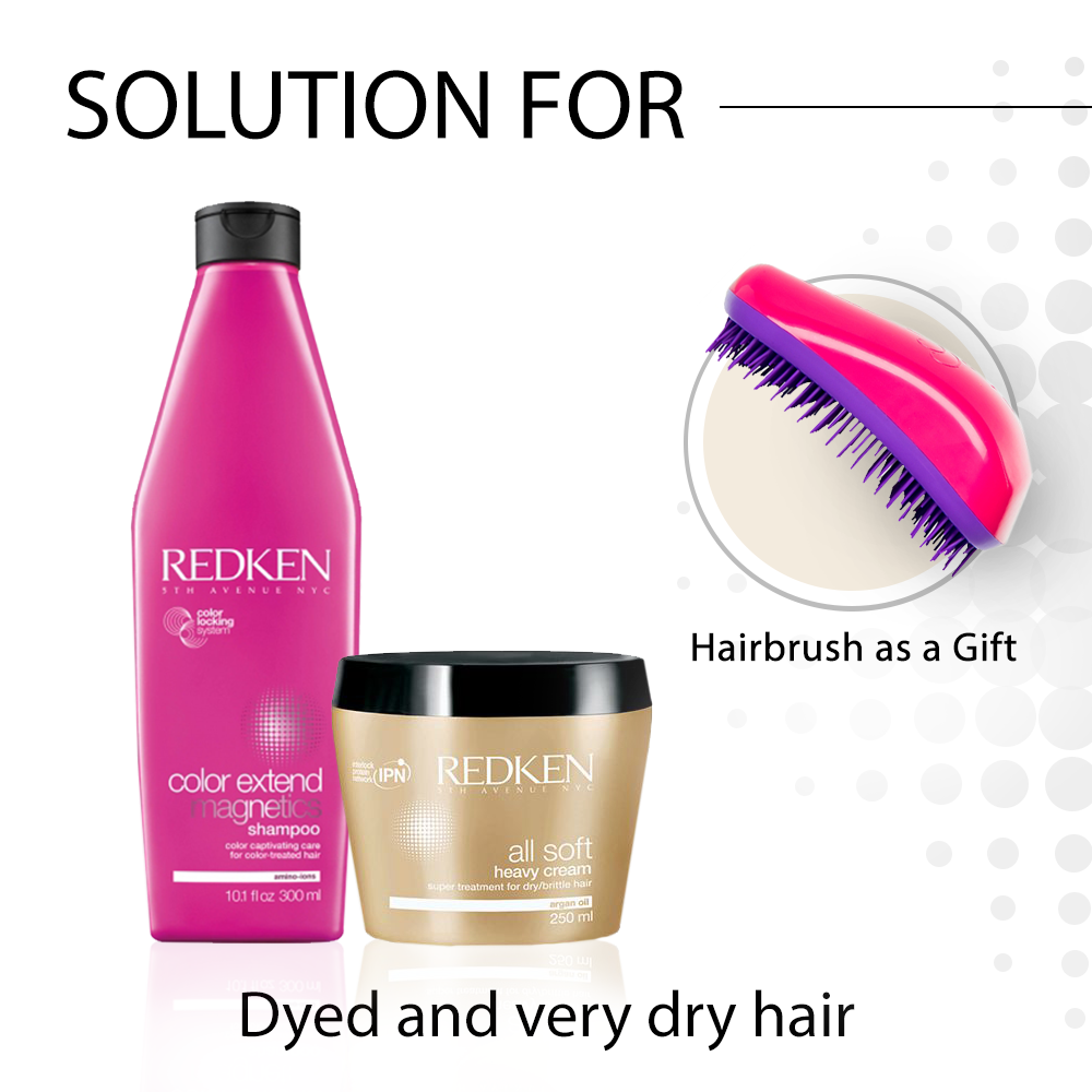 REDKEN problem-solving hair care package for dyed and very dry hair with REDKEN hairbrush as a GIFT
